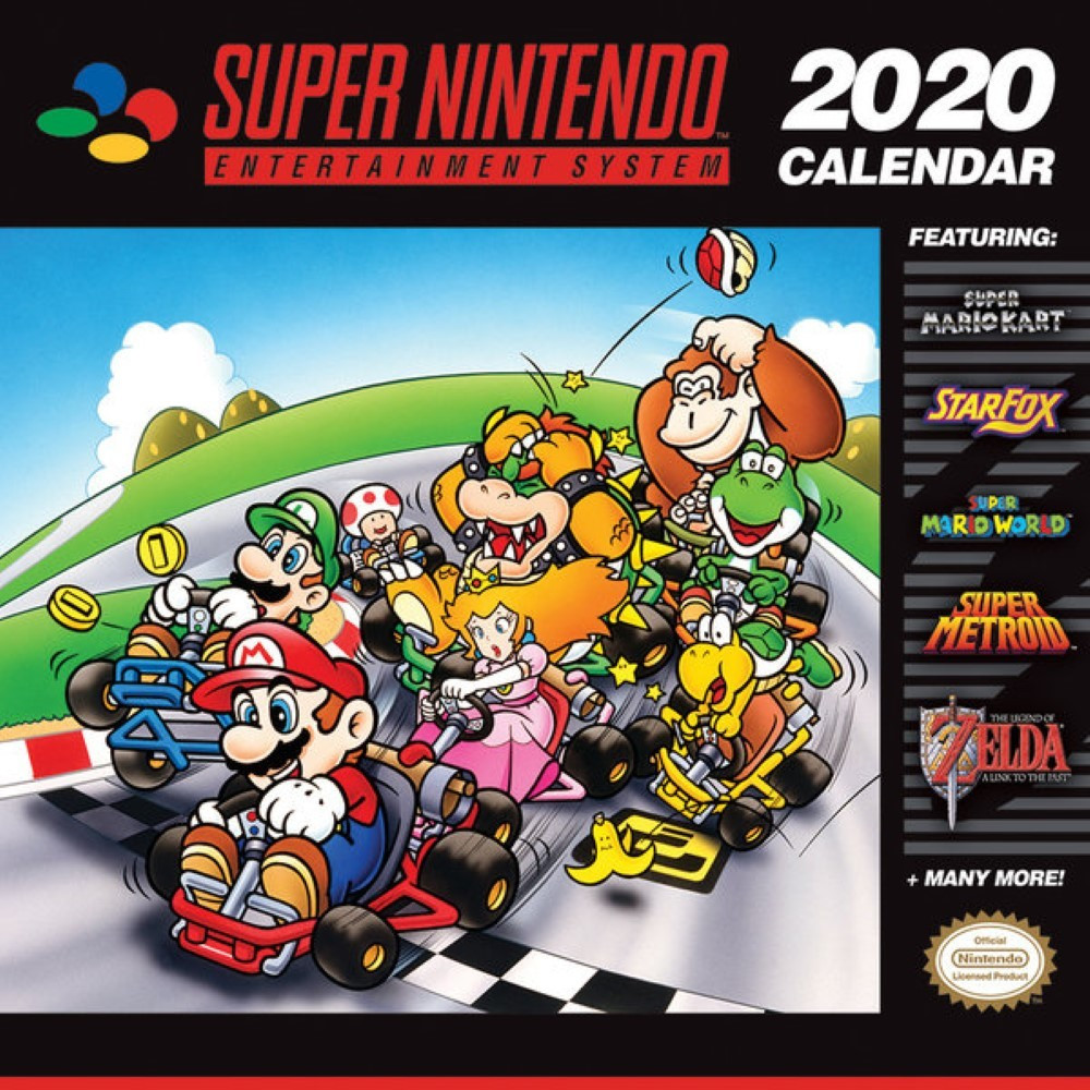 CALENDRIER SUPER NINTENDO MARIO KART 2020 NEW