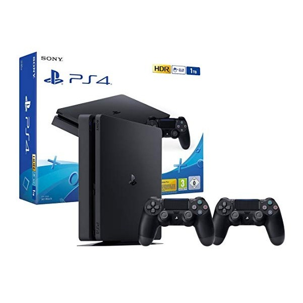 CONSOLE PS4 SLIM 1 TO + 2 DUAL SHOCK 4 EURO NEW