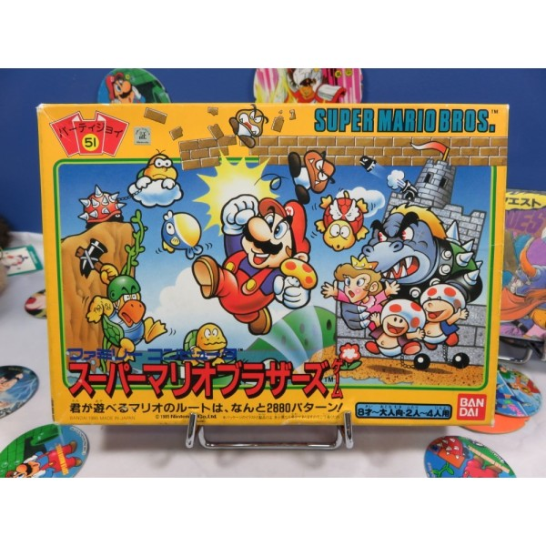 SUPER MARIO BROTHERS BOARD GAME (JEU DE SOCIETE) PARTY JOY 51 BANDAI JAPAN 1986 (COMPLET)
