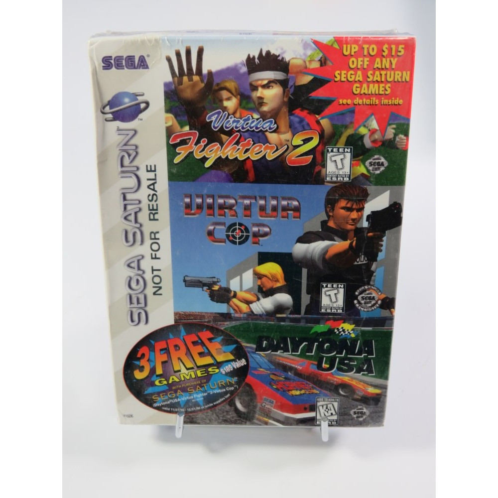 SEGA SATURN 3 FREE GAMES VIRTUA FIGHTER 2 - VIRTUA COP - DAYTONA USA NTSC-USA NEW