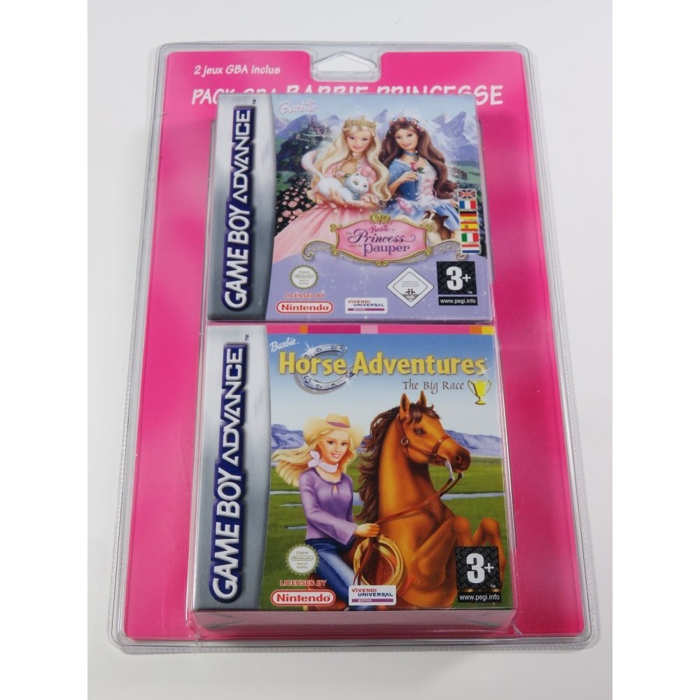 PACK GBA BARBIE PRINCESSE (THE PRINCESS AND THE PAUPER / HORSE ADVENTURES) GBA EURO FR NEW (BLISTER RIGIDE)
