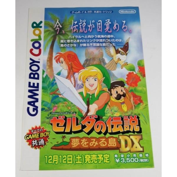 CHIRASHI FLYER ZELDA NO DENSETSU YUME WO MIRU SHIMA DX (GAME BOY COLOR) NINTENDO JPN 1998