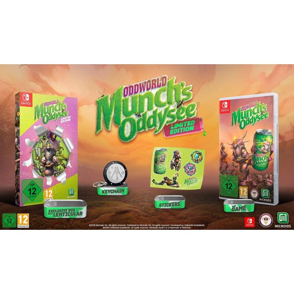 ODDWORLD MUNCH S ODDYSEE LIMITED EDITION NINTENDO SWITCH EURO FR NEW FACTORY SEALED (LENTICULAR-KEYCHAIN-STICKERS)