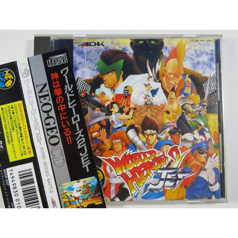 WORLD HEROES 2 JET NEOGEO CD NTSC-JPN (COMPLET WITH SPINCARD-GOOD CONDITION) SNK-ADK 1994