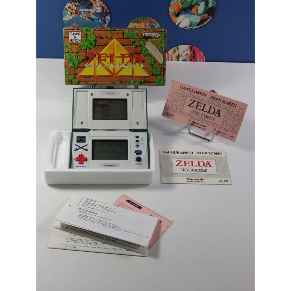 GAME & WATCH NINTENDO ZELDA ZL-65 EURO (COMPLET - GOOD CONDITION) (SERIAL: 46377293) (MANUAL UK AND 2 DUTCH)