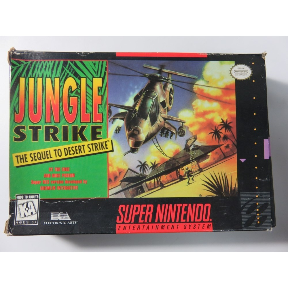 JUNGLE STRIKE THE SEQUEL TO DESERT STRIKE SUPER NINTENDO NTSC-USA (COMPLETE-GOOD CONDITION) EA1991