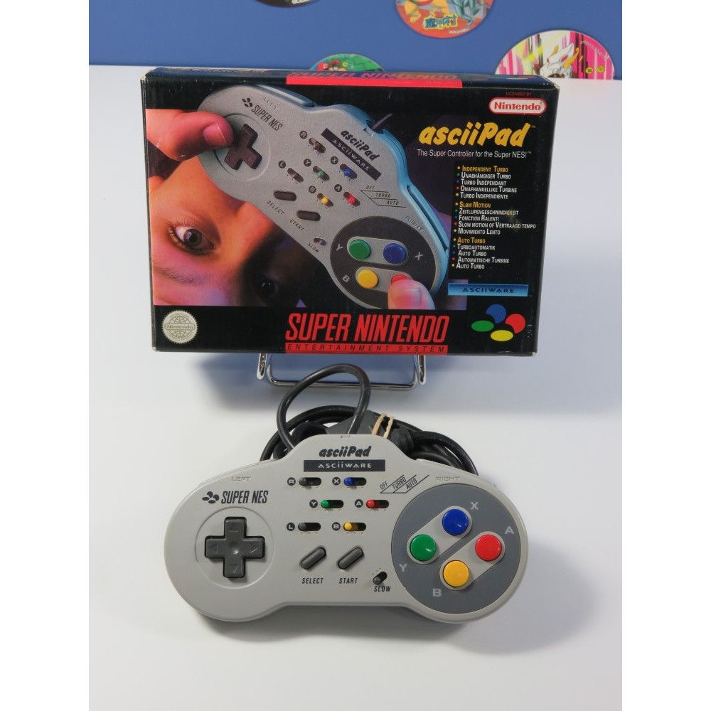 CONTROLLER - MANETTE ASCIIPAD TURBO SUPER NINTENDO (SNES) BOXED EURO (COMPLET - GOOD CONDITION)