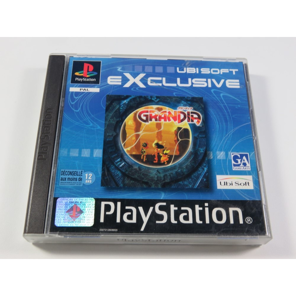 GRANDIA - UBISOFT EXCLUSIVE SONY PLAYSTATION 1 (PS1) PAL-FR (SANS NOTICE - GOOD CONDITION)(GAME ARTS RPG)