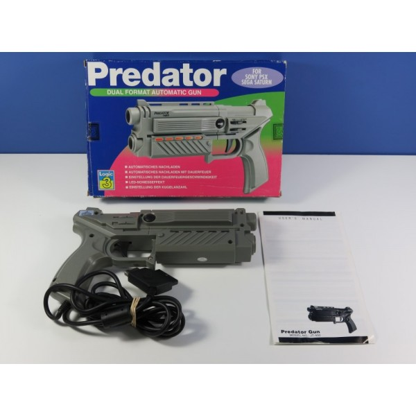 DUAL FORMAT (PS1-SATURN) AUTOMATIC GUN (BOXED) PREDATOR MODEL-JT400 EURO (COMPLET - GOOD CONDITION)