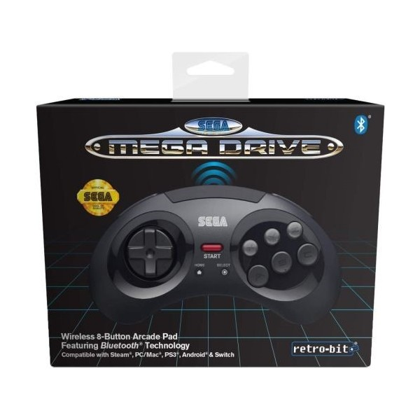 CONTROLLER MEGADRIVE BLACK BLUETOOTH RETRO-BIT NEW RETROBIT FR NEW