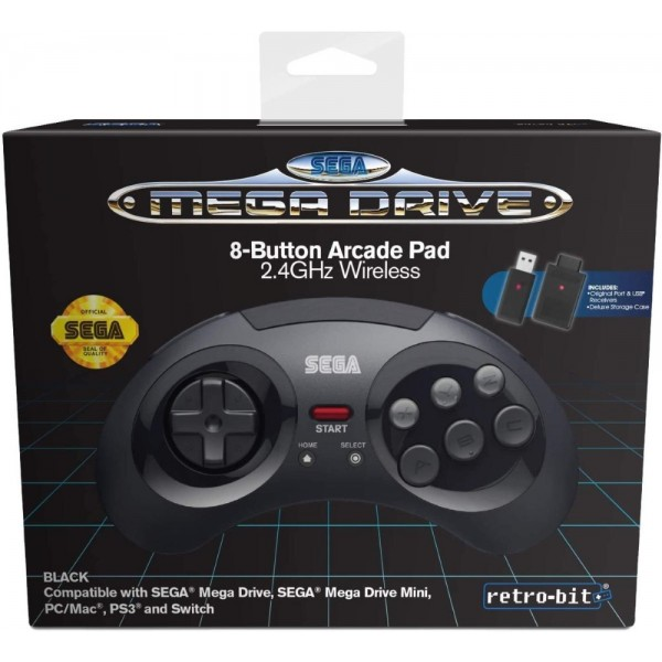 CONTROLLER MEGADRIVE BLACK+RECEIVERS BLUETOOTH RETRO-BIT NEW
