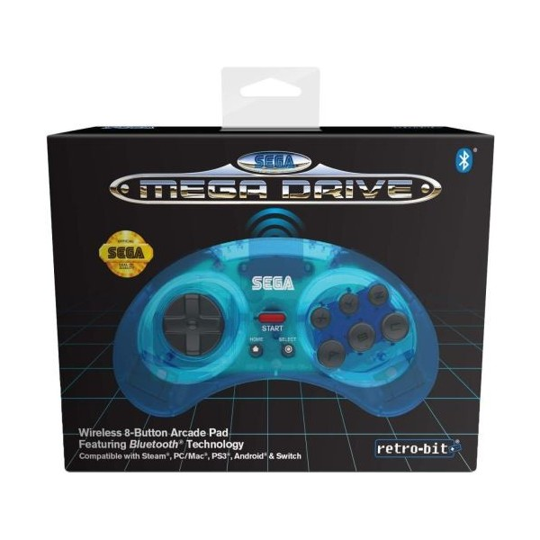 CONTROLLER MEGADRIVE CLEAR BLUE BLUETOOTH RETRO-BIT NEW