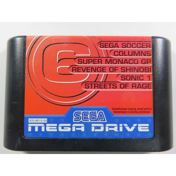 MEGA GAMES 6 CARTOUCHE ROUGE SEGA MEGADRIVE PAL-EURO (LOOSE)