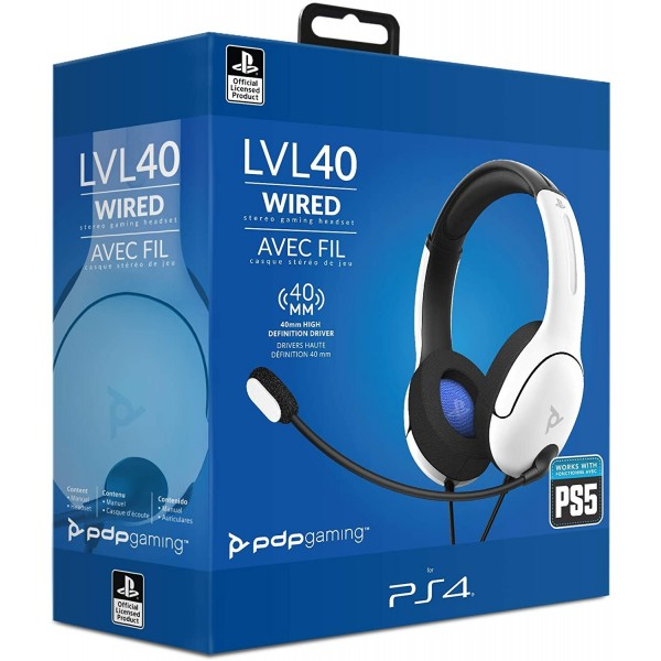 CASQUE PLAYSTATION WIRED LVL 40 WHITE PS4 / PS5 EURO NEW
