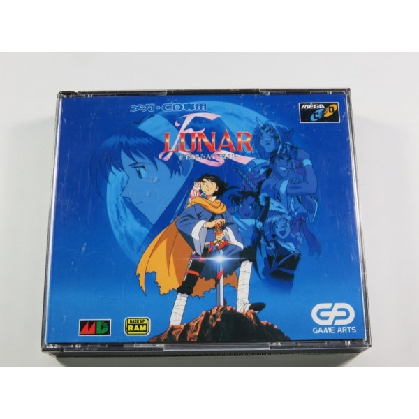 LUNAR ETERNAL BLUE SEGA MEGA CD NTSC-JPN (COMPLETE WITH SPIN CARD - REG CARD - WORLD MAP - GOOD CONDITION)