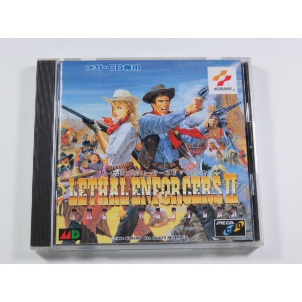 LETHAL ENFORCERS II THE WESTERN SEGA MEGA-CD NTSC-JPN (COMPLETE WITH SPIN CARD AND REG CARD - VERY GOOD CONDITION)