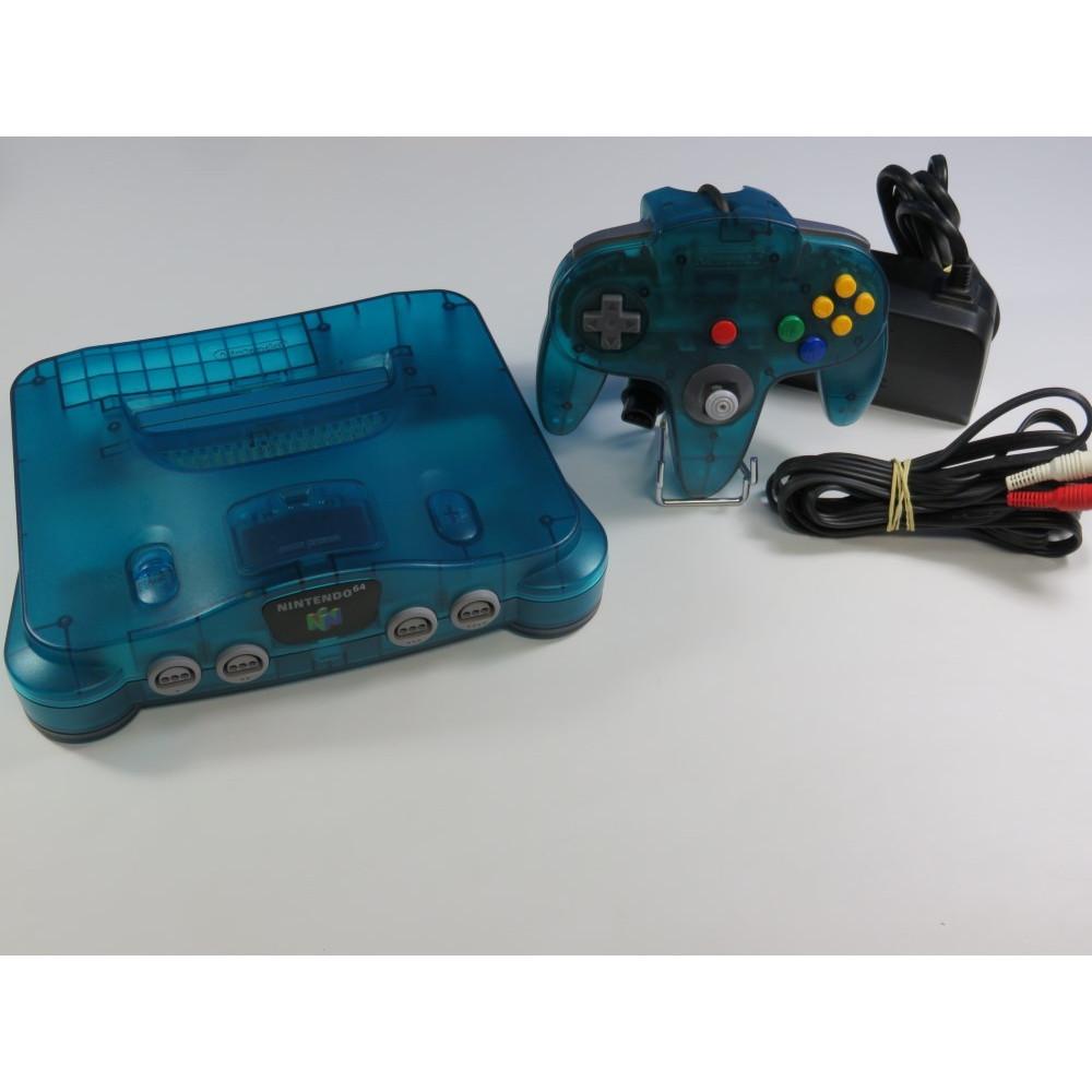 CONSOLE NINTENDO 64 (N64) CLEAR BLUE (+ EXPANSION PAK) PAL-EURO SANS BOITE NI NOTICE