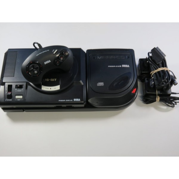 CONSOLE MEGADRIVE + MEGA CD 2 (SANS BOITE - WITHOUT BOX) (GOOD CONDITION OVERALL)