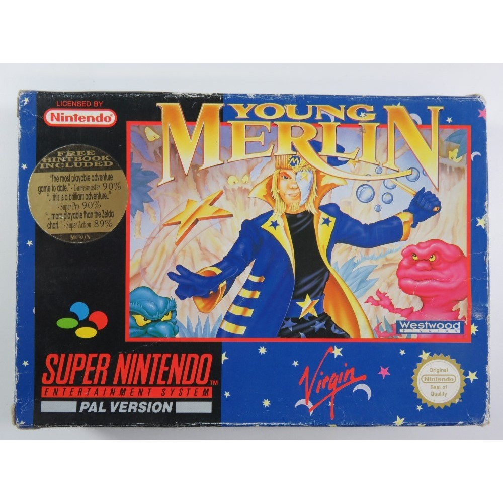 YOUNG MERLIN SUPER NINTENDO (SNES) PAL-UKV (COMPLETE - GOOD CONDITION OVERALL)