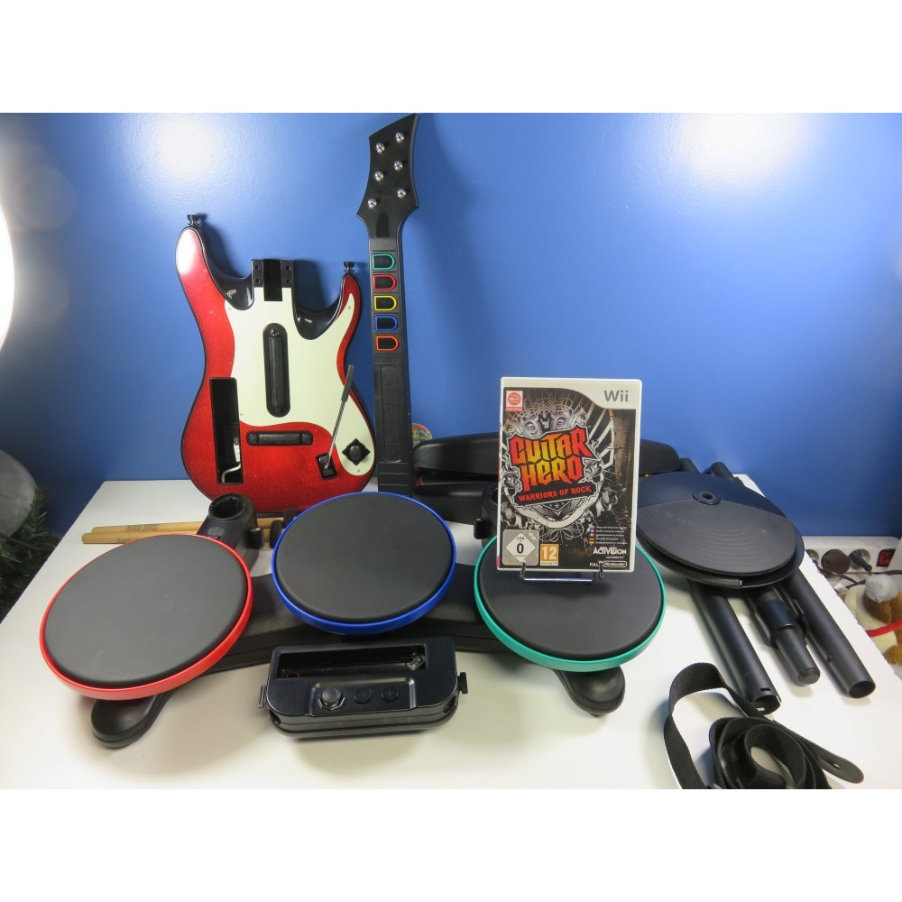 BUNDLE GUITAR HERO WARRIORS OF ROCK (DRUM + GUITAR) WII PAL-EURO (WITHOUT BOX - GOOD CONDITION)(BATTERY PEDAL MISSING)
