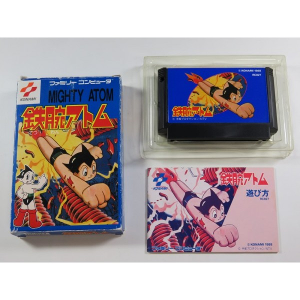 TETSUWAN ATOM FAMICOM NTSC-JPN (COMPLETE-OVERALL GOOD CONDITION) KONAMI 1988 ASTRO BOY