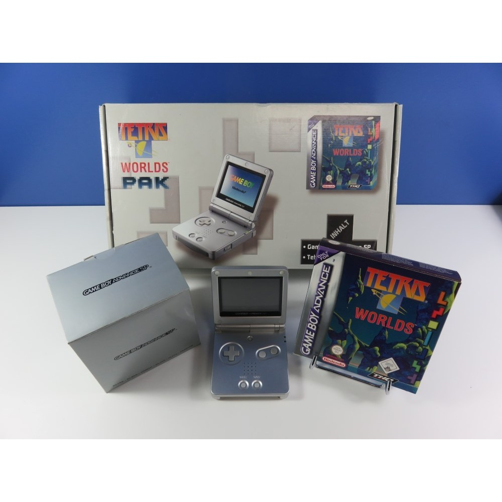 TETRIS WORLDS PAK - GAMEBOY ADVANCE SP SILVER + TETRIS WORLDS GBA EURO (COMPLET - VERY GOOD CONDITION OVERALL)