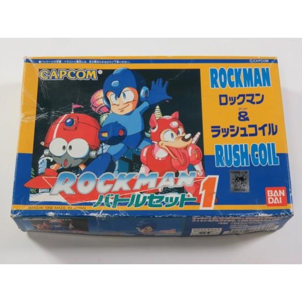 ROCKMAN BATTLE SET 1 BANDAI MODEL KIT ROCKMAN & RUSH COIL 1992 JAPAN (NEUF - NEW) - (BOX DAMAGED)