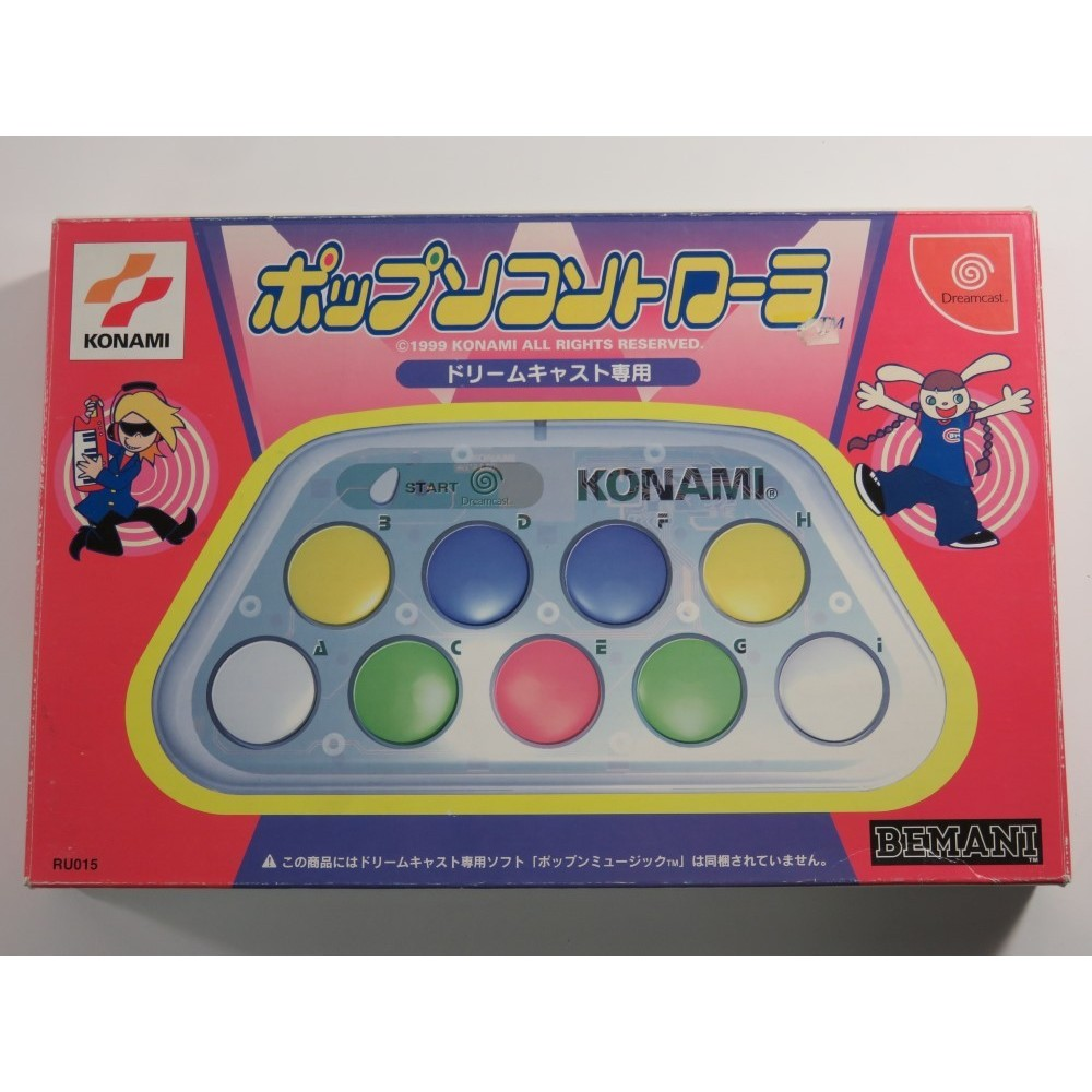 POP N MUSIC + POP MUSIC CONTROLLER DREAMCAST NTSC-JPN (COMPLETE - GOOD CONDITION OVERALL)