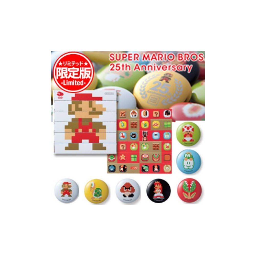 NEW SUPER MARIO BROS PIN BUTTON BADGE COLLECTION CLUB NINTENDO 25TH ANNIVERSARY OCCASION