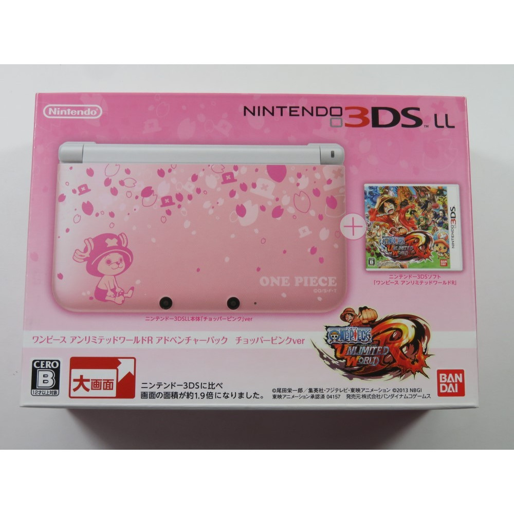 CONSOLE 3DS LL ONE PIECE UNLIMITED WORLD R LIMITED PACK CHOPPER PINK VER. (NEUF - BRAND NEW)