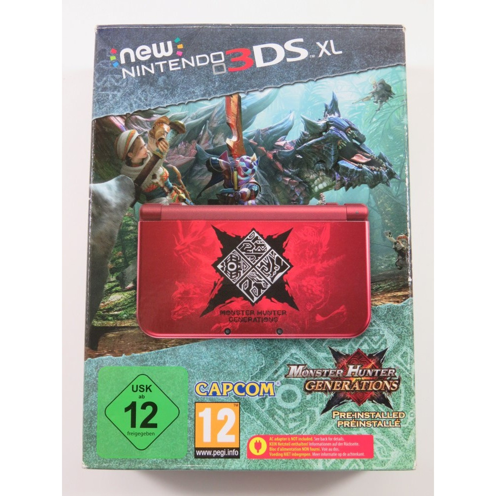 CONSOLE NINTENDO NEW 3DS XL MONSTER HUNTER GENERATIONS PAL-EURO (COMPLETE - GOOD CONDITION) SERIAL:QEH110138297