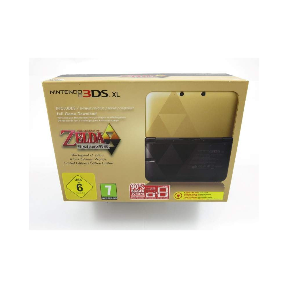 CONSOLE 3DS XL THE LEGEND OF ZELDA A LINK BETWEEN WORLDS EURO FR NEW ( ANGLE BOITE CORNE)