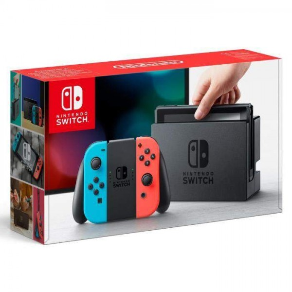 CONSOLE SWITCH 1 JOYCON BLEU NEON + 1 JOYCON ROUGE NEON SWITCH FRANCAIS OCCASION