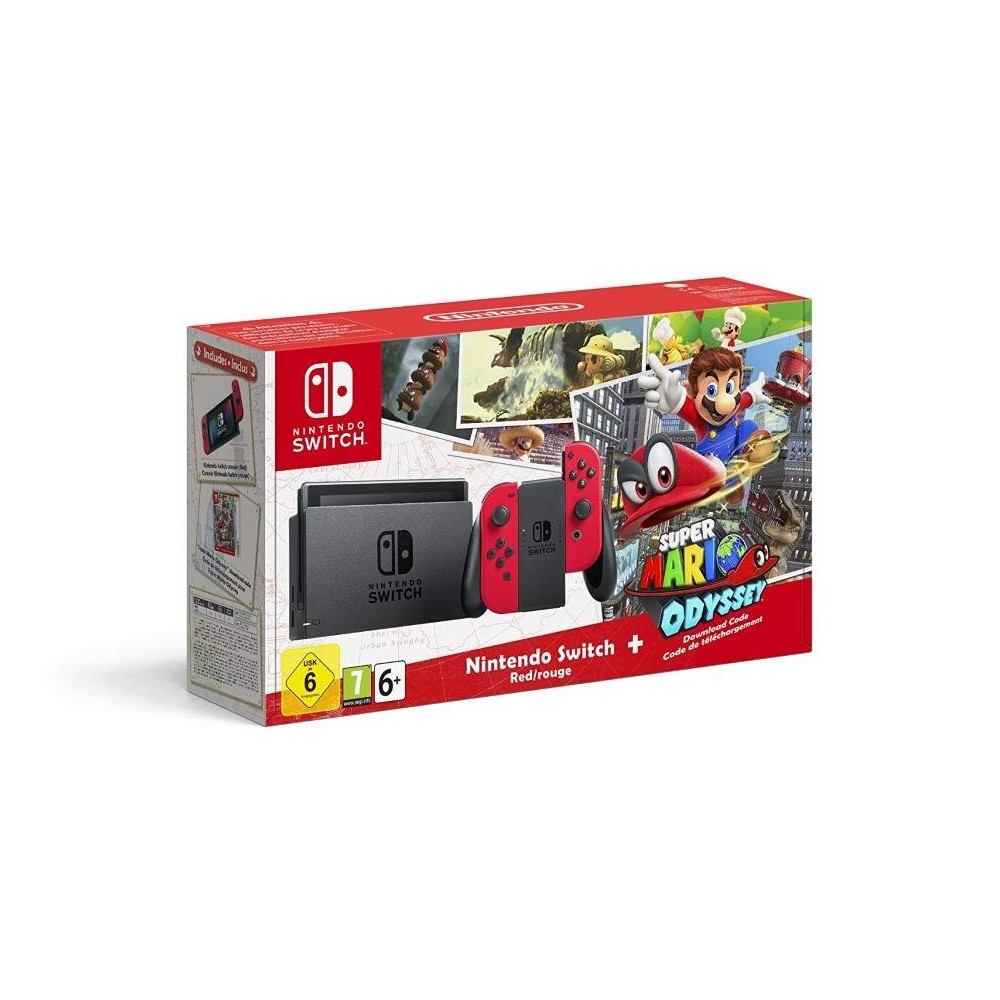 CONSOLE SWITCH + 2 JC ROUGE NEON + SUPER MARIO ODISSEY EURO FR NEW