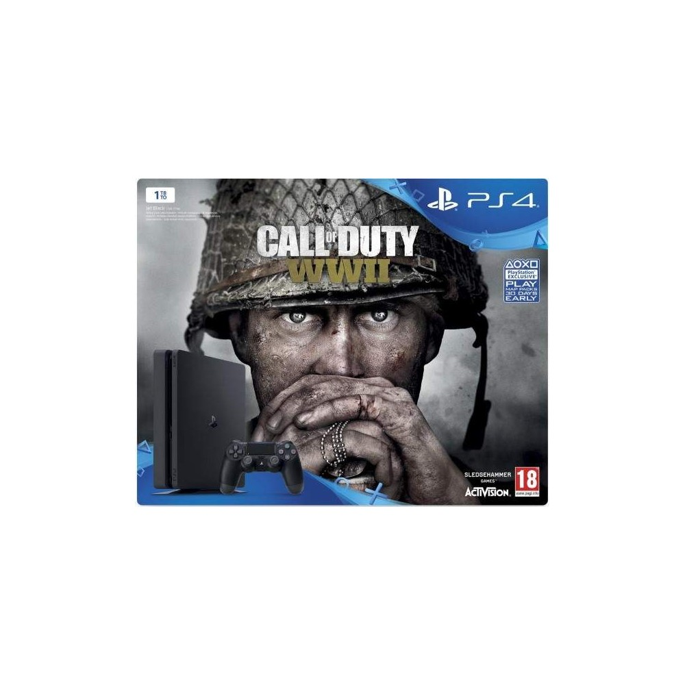 CONSOLE PS4 SLIM 1 TO + CALL OF DUTY WWII EURO NEW