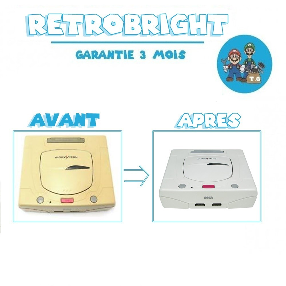 Forfait RetroBright Saturn - Modding Modification Upgrade Dézonage - Sega