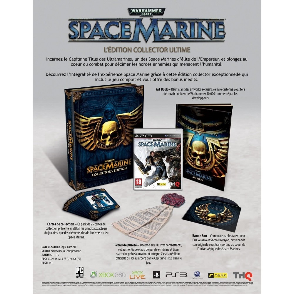 WARHAMMER 40000 SPACE MARINE COLLECTOR S EDITION PS3 FR NEW