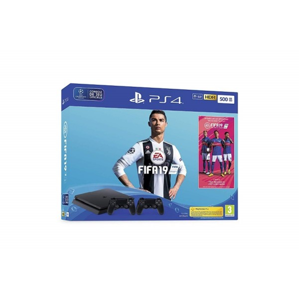 CONSOLE PS4 SLIM 500GO + FIFA 19 + DUAL SHOCK EURO NEW