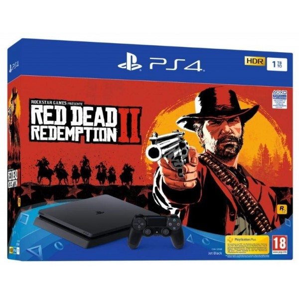 CONSOLE PS4 SLIM 1 TO + RED DEAD REDEMPTION 2 EURO NEW
