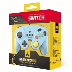 CONTROLLER FILAIRE GAMECUBE STEELPLAY BLEU SWITCH EURO NEW