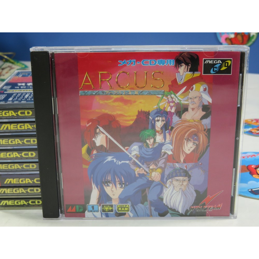 ARCUS I.II.III SEGA MEGA-CD NTSC-JPN (COMPLETE WITH SPIN CARD AND REG CARD - GOOD CONDITION)