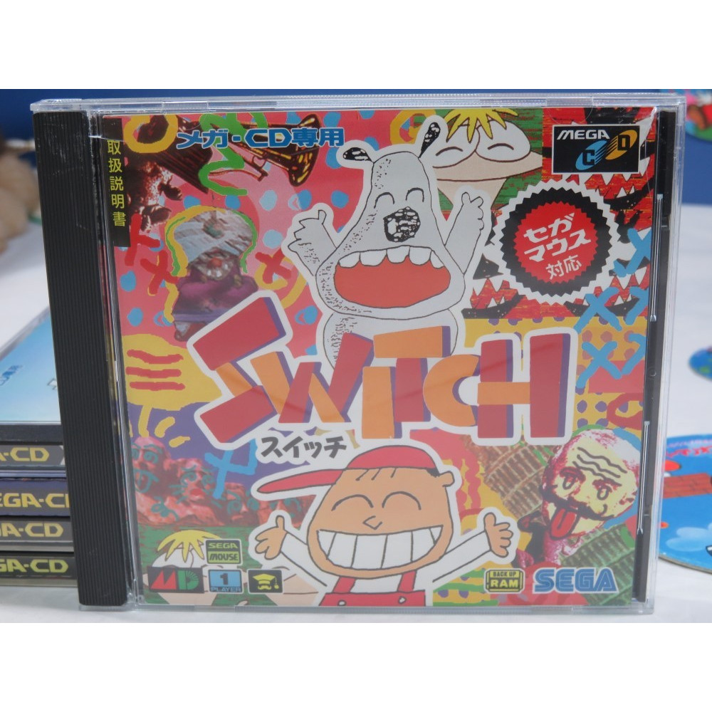 SWITCH SEGA MEGA-CD NTSC-JPN (COMPLETE WITH SPIN CARD - GOOD CONDITION)